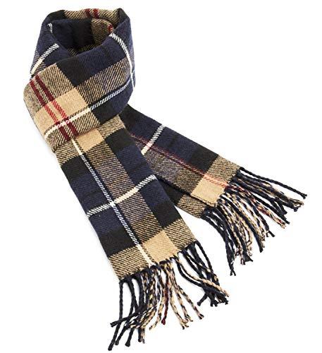 CityComfort sjaal, wintersjaal, zwart-beige-blauw geruite sjaal, tweezijdig wintersjaal voor elegante mannen, comfortabele en warme plaid sjaal, prachtige cadeaus voor heren