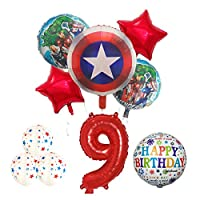 バルーン 10ピースハルクフォイル風船18インチラウンドスーパーヒーローヘリウムバルーン30インチナンバーセット子供おもちゃ誕生日パーティーの装飾 (Color : 9)