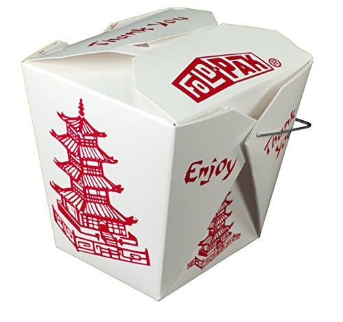 Fold-Pak 32WHPAGODAMB Pagoda Print Paper Wire-Handled Food Pail, 3-3/8' Length x 2-5/8' Width x 4-1/4' Height, 32-Fluid Ounce Capacity (Case of 500)