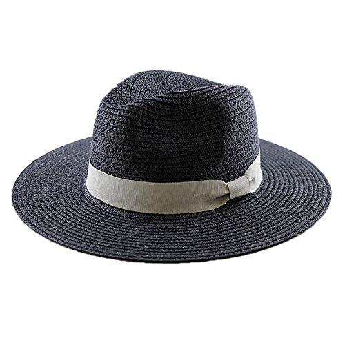 NYSCJJJ Panama Chapeau de Paille, Big Head Chapeau de Paille, Plein air Plage Chapeau de Soleil, Voyage Essential Protection UV UPF 50+ déployante réglable Homme Hat (Color : Black, Size : S)