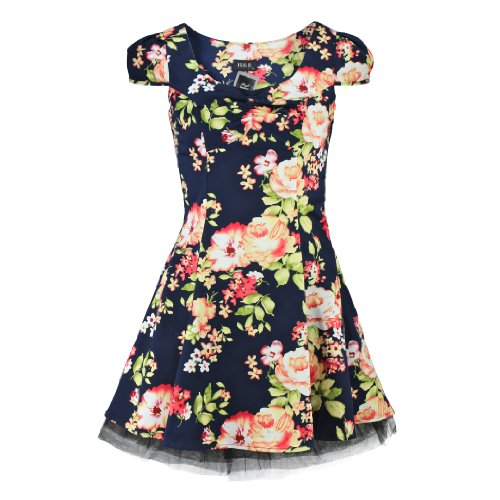 H & R London Mini Abito Romantic Flowers Dress Navy blu navy 54/56