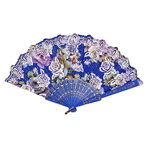 FeiFei66 Fashion Best Chinese Style Dance Wedding Party Lace Silk Folding Hand Held Flower Fan (Blue)