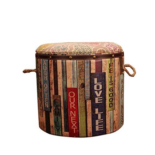 LIL Amerikaanse opbergkruk Mode theekruk Barkruk Creatieve houten leren kruk Eetstoel Retro schoenwisselkruk