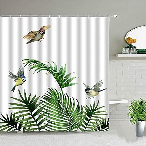 Cortinas de Ducha Flor de Hoja Verde Plantas Tropicales Pájaro Decoración de baño Paño Bañera para el hogar Cortina Colgante Impermeable S.6 150x200cm
