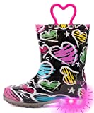 OUTEE Toddler Girls Rain Boots Little Kids Baby Light Up Printed Waterproof Mud Shoes Pink Heart Lightweight Rubber Adorable with Easy-On Handles Non Slip (Size 8,Pink)