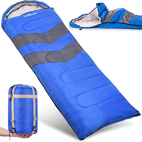 Sleeping Bag – Lightweight, Waterproof, Compact with Compression Sack – For Adults, Kids and Boys – Great for 4 Season Traveling, Backpacking, Hiking, Outdoor – Best Camping Gear and Equipment (New)