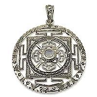 "Moonstone Tibetan Mandala Pendant Sterling Silver Size 1.3"" [並行輸入品]"