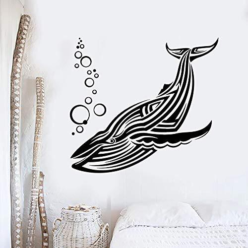 Gran ballena azul etiqueta de la pared animal marino agua espuma vinilo etiqueta de la ventana tema marino estilo dormitorio baño decoración del hogar mural