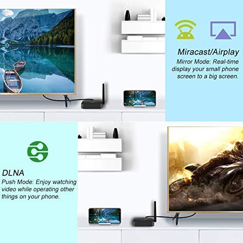 YEHUA Wireless WiFi Display Dongle 5GHz+2.4GHz Mini Bildschirm Teilen Anzeigeempfänger 4K Unterstützung Chromecast Miracast DLNA Airplay für TV/Android Smartphone/IOS/PC/Monitor/Projektor