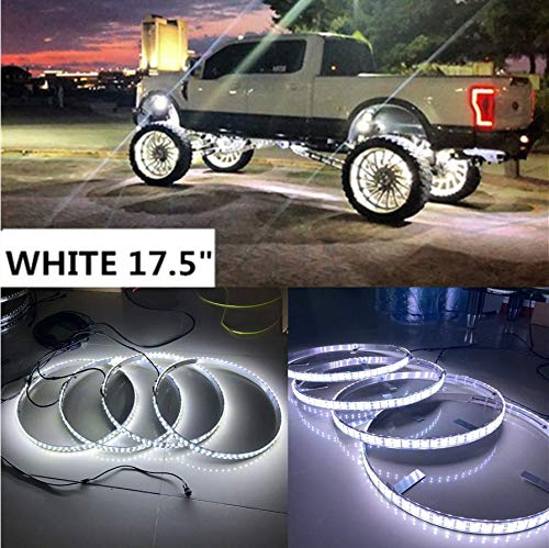 FIA Set4 17.5'' IP68 Solid Color White Double Row Wheel Rim Lights Switch Control For Car & Truck
