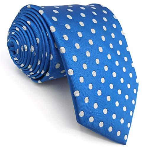 S&W SHLAX&WING Azul Blanco Corbatas for Men Corbatas Traje de negocios Puntos 147cm