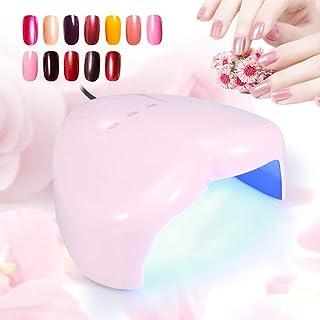 RBSD Lámpara de uñas UVLED, máquina Secadora de uñas sin Zona Muerta, 3 configuraciones de Temporizador 18 W para Gel de extensión Gel UV(Pink)