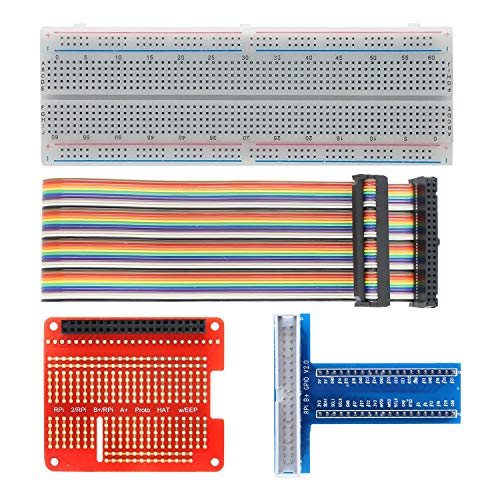 Raspberry Pi GPIO Breakout Kit, 830 Points Solderless Breadboard + GPIO T Type Expansion Board + 40pin Rainbow Ribbon Cable + Prototype Breakout Board for Raspberry Pi 4B/3B+/3B/2B/B+/A+/Zero (W)