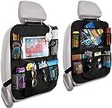 Auto Rückenlehnenschutz - RIGHTWELL 2 Stück Auto Rücksitz Organizer für Kinder, 10 in Touch Screen Ipad Tablet Halter - Aufbewahrungsspielzeug, Bücher, Getränke - Reisezubehör für Kinder