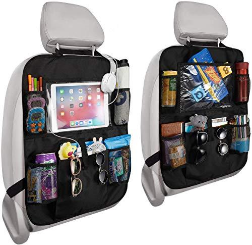 Organizadores para Asientos de Coches - RIGHTWELL 2 Pack Protector Asiento Coche Niños con Sorporte iPad 10' - Almacenamiento de Juguetes, Libros, Bebidas - Accesorios de Viaje para Niños