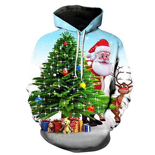 Mr.BaoLong&Miss.GO Autumn and Winter Mens Sweater Pullover Christmas Couple Sweater Hooded Sweatshirt T-Shirt Bottoming Shirt