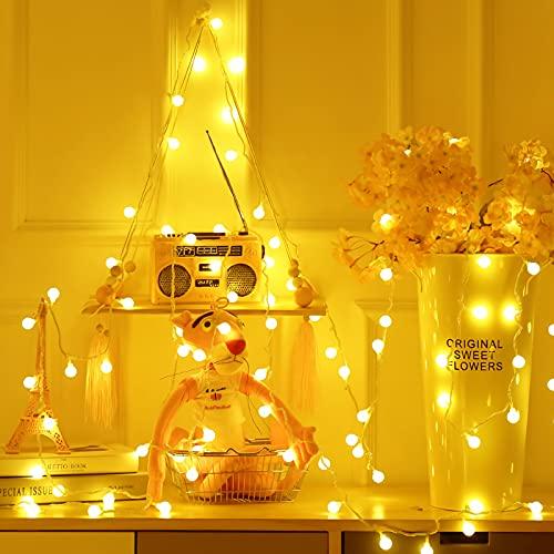 Guirnalda de luces de 5 m, 40 ledes con USB, luces blancas cálidas, decoraciones brillantes para árboles de Navidad,...