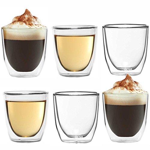 Dimono 6X Doppelwandiges Espressoglas 80ml Espresso-Tasse aus Glas Espresso-gläser
