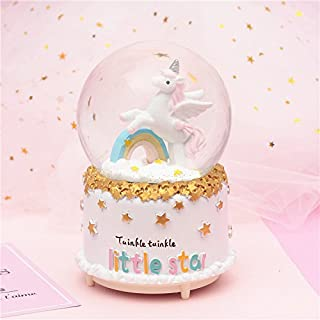 Music Boxes Tery Gift Products Dream Girl Unicorn Rainbow Crystal Ball Music Box