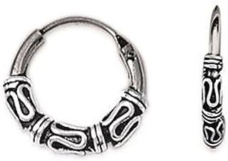 Pendientes de aro de Bali de plata 925/000 - 12 mm de diámetro