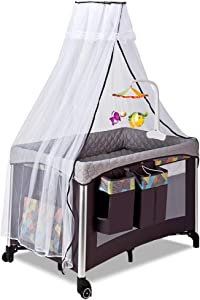 FHKL Foldable Newborn Baby Cradle Bed Multi-function Portable Children s Bed Suitable For Babies 0-3 Years Old  Size  112cm