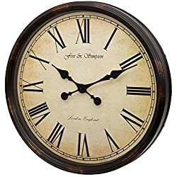 Fox and Simpson Grand Central Station Extra Large 50cm / 20-Inch Wall Clock in Cream (Black)