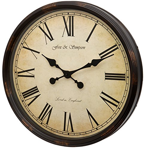 Fox and Simpson Grand Central Station Extra Large 50 cm Wanduhr in Creme (Schwarz)