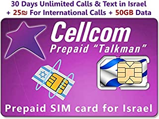 Israel Prepaid SIM Card from Cellcom, Including 30 Days Unlimited Israel Calls & Text + 50GB Data + 25 Shekel for International Calls, Fits Any Size SIM Card Micro Nano + Case iPhone Pin & User Guide