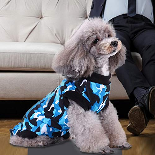 SALUTUYA Pet Recovery Suit, weich und sicher, Pet Recovery Tool nach der Operation(Camouflage Blue, M)