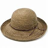 ELEHELM ハット ラフィア ラフィアハット 麦わら帽 つば広 レディースハット ナチュラル 天然草み 春夏 57.5cm (約56-57.5cm) ブラウン