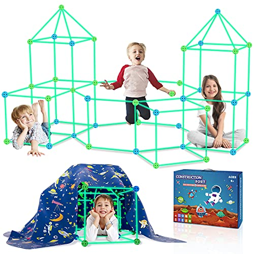 160PCS Kids Fort Building Kit Glow in the Dark Build a Fort with Blanket STEM Educational Toys for 4 5 6 7 8 9 10 11 12 Years Boys Girls Ultimate Construction Gift DIY Forts Builder Set Indoor Outdoor