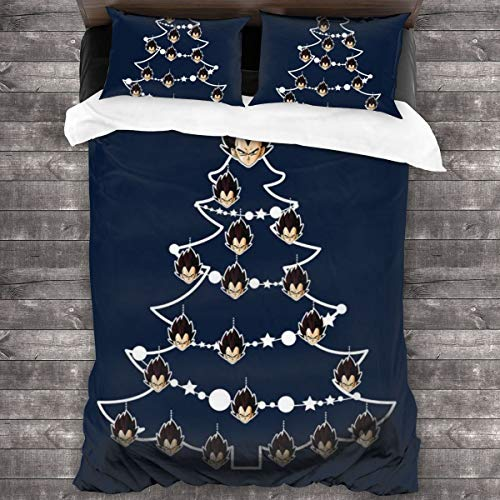 KUKHKU Vegeta Dragon Ball Z Christmas Tree Baubles 3 Pieces Bedding Set Duvet Cover 86x70 inch, Decorative 3 Piece Bedding Set With 2 Pillow Shams