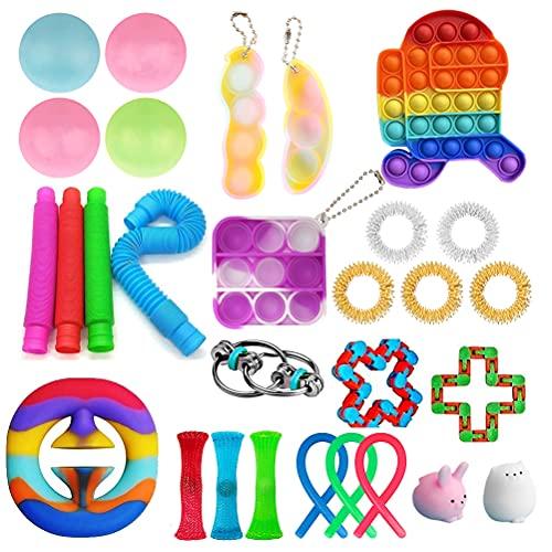 shenruifa Fidget Toys Pack, Sensory Fidget Toys Set, Fidget Toys Box mit Simple Keyring und Stressball Marble Mesh Pop Bubble Fidget Sensorisches Fidget-Spielzeug-Set für Kinder Erwachsene