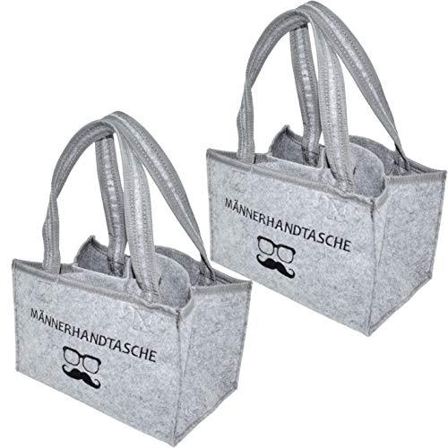 CREOFANT Pack of 2 felt bottle bags, bottle carrier made of felt, bottle bag felt for 6 bottles, felt bag, bottle carrier, bottle basket, men's handbag (2 x light grey - men's handbag).