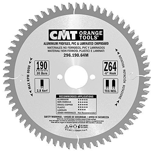 CMT Orange Tools 296.190.64M - Sierra circular 190x2.8x30 z 64 tgc -6 grados
