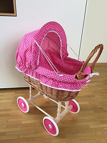 Puppenwagen Kinderwagen Weide 45x45x47 cm rosa kl.Punkte Weidenkorb Korbwagen Stubenwagen