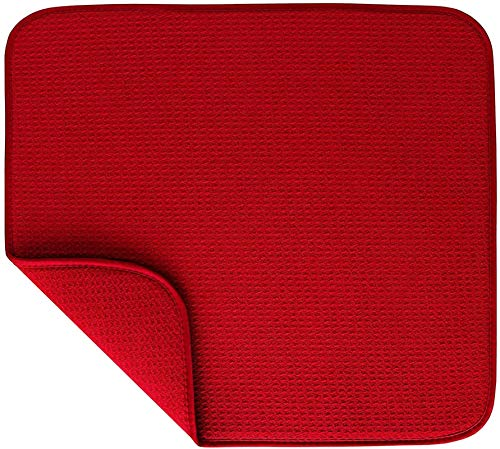 Microfiber Dish Drying Mats, Drying Mat for Dishes, Large Absorbent Sink Drain Mat Big Reversible Dish Dryer Pad for Kitchen Counter (Red)