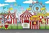 Cassisy 3x2m Vinilo Circo Telon de Fondo Rayas de Colores Carpas de Circo Rueda de la Fortuna Cielo...