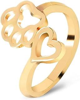 Yuanhua الإبداعية الجوف الحب الكلب مخلب خواتم افتتاح للنساء المفصل الدائري المرأة خواتم أنيقة، الذهب