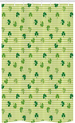 ABAKUHAUS Iers Douchegordijn, Geruite Retro Klavers, voor Douchecabine Stoffen Badkamer Decoratie Set met Ophangringen, 120 x 180 cm, Veelkleurig