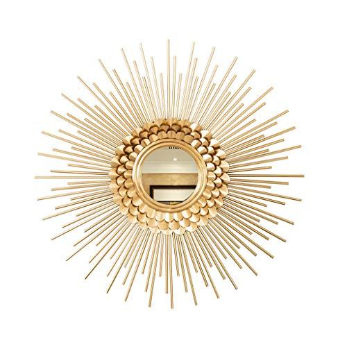 RSWLY Espejo Redondo Decoración Antiguo Oro 60 cm Estilo Moderno Salón Decorativo Cuarto de baño