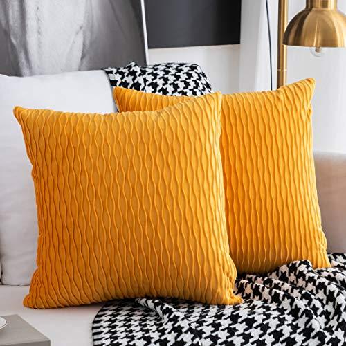 Kissenbezüge Set mit 2 dekorativen quadratischen rechteckigen Kissenbezüge Samt Moderne Kissenbezüge für Couch Bett Sofa Stuhl Schlafzimmer Wohnzimmer(Gelb)