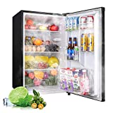Compact Refrigerator, 4.5Cu.Ft, TECCPO, Mini Fridge with LED Light, Energy Star, Super Quiet, for Dorm, Bedroom, Office, Apartment-TAMF09