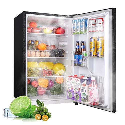 Compact Refrigerator, 4.5Cu.Ft(128L), TECCPO, Mini Fridge with LED Light, Energy Star, Super Quiet, Reversible Door, Small Refrigerator, for Dorm, Bedroom, Office, Kitchen, Apartment, Black-TAMF09