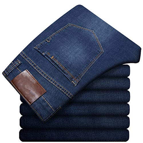 Mens Jeans Classic Straight Baggy Jeans New Summer Thin Casual Loose Fit Denim Pants King Size Trouser Overall