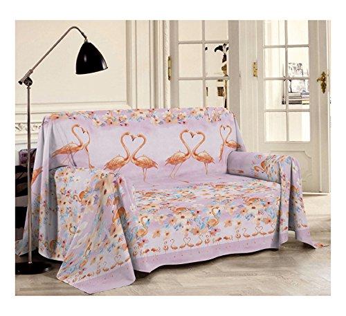 Smartsupershop Tagesdecke für Frühling & Sommer, für Doppelbett, Flamingo, Rosa, aus Baumwolle, Jacquard, hergestellt in Italien