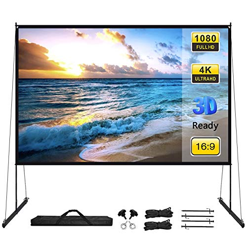 Projector Screen with Stand 100 Inch16:9 HD Anti-Crease Portable PVC Projection Screen, Foldable Indoor Outdoor Projector Movies Screen for Home Office Presentation Education Public Display Screen
