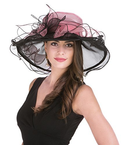 SAFERIN Women's Organza Church Kentucky Derby Hat Feather Veil Fascinator Bridal Tea Party Wedding Hat (GZ-Black and Pink)