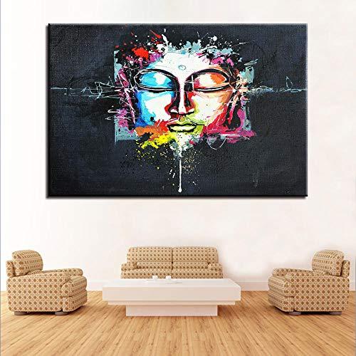 wZUN Arte decoracin del hogar Tablero de la Sala de Estar Estatua de Buda Lienzo Arte Impresiones Populares pster Pared Pintura al leo Moderna 60x90cm Sin Marco