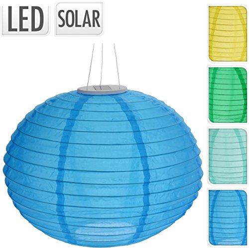 Solar Lampion OVAL - LED Gartenbeleuchtung mit Akku - Dekobeleuchtung Partybeleuchtung türkis